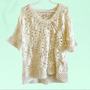 Chico's white boho crochet short sleeve top